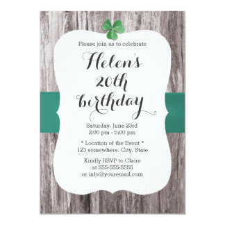 Simple Shamrock Teal Ribbon Wood Birthday Party Card