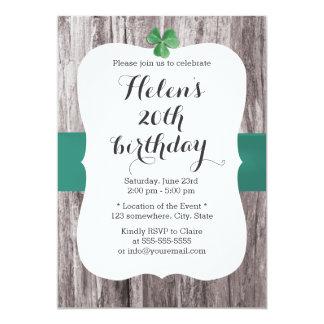 Simple Shamrock Teal Ribbon Wood Birthday Party 5x7 Paper Invitation Card