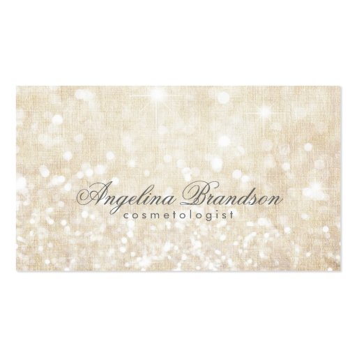 Simple Shimmering Cream Cosmetologist Card Business Card Templates