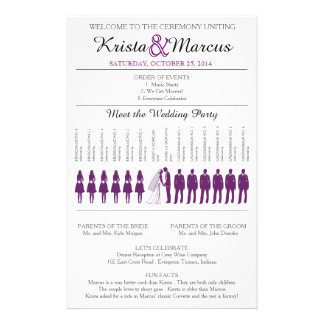 Simple Silhouettes Wedding Program Flyer-Purple