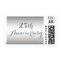 Simple Silver 25th Anniversary Postage Stamp