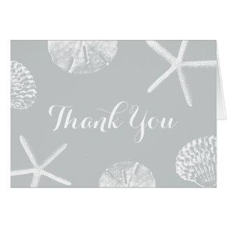 Simple Silver Beach Theme Seashells Thank You Card