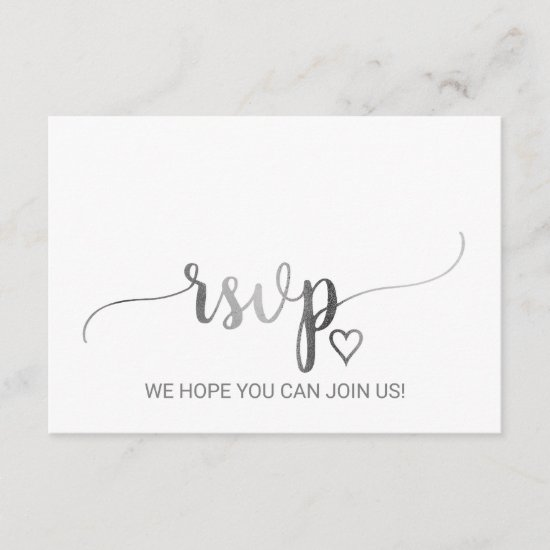 Simple Silver Calligraphy Song Request RSVP Card