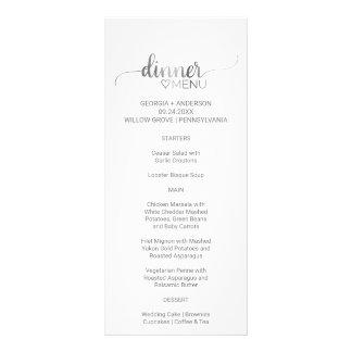 Simple Silver Calligraphy Wedding Dinner Menu Card