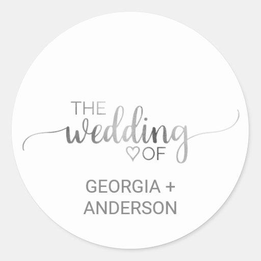 Simple Silver Calligraphy Wedding Envelope Seal