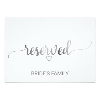 Simple Silver Calligraphy Wedding Reserved Sign Card