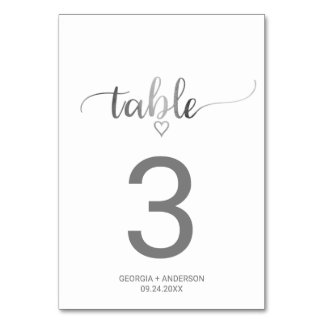 Simple Silver Calligraphy Wedding Table Number
