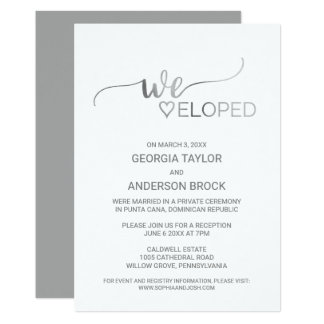 Simple Silver Foil Calligraphy Elopement Reception Card