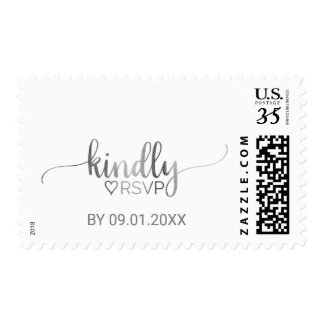 Simple Silver Foil Calligraphy Kindly RSVP Wedding Postage
