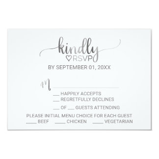 Simple Silver Foil Calligraphy Menu Choice RSVP Card