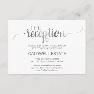 Simple Silver Foil Calligraphy Reception Card