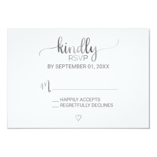 Simple Silver Foil Calligraphy RSVP Card