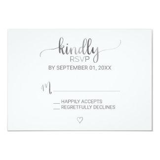 Simple Silver Foil Calligraphy RSVP Invitation