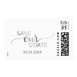 Simple Silver Foil Calligraphy Save Our Date Postage