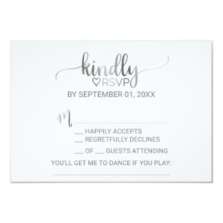 Simple Silver Foil Calligraphy Song Request RSVP Card