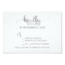Simple Silver Foil Calligraphy Song Request RSVP Invitation