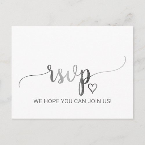 Simple Silver Foil Calligraphy Song Request RSVP Invitation Postcard