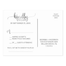 Simple Silver Foil Calligraphy Song Request RSVP Postcard