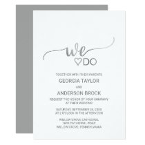"Simple Silver Foil Calligraphy ""We Do"" Wedding Invitation"
