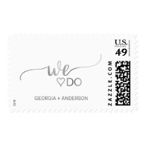 """Simple Silver Foil Calligraphy """"We Do"""" Wedding Postage"""