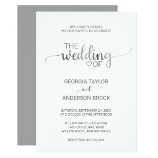 Simple Silver Foil Calligraphy Wedding Card