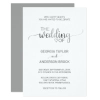 Simple Silver Foil Calligraphy Wedding Invitation