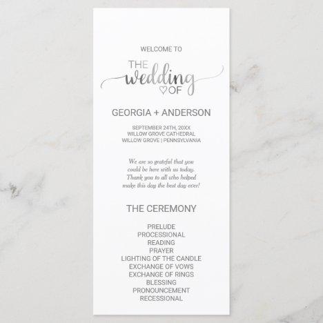 Simple Silver Foil Calligraphy Wedding Program