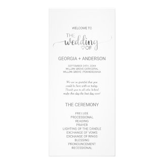 Simple Silver Foil Calligraphy Wedding Program