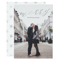 Simple Silver Gold Merry Christmas Photo Cards