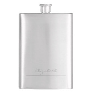 * Simple Silver Signature Personalized Flask