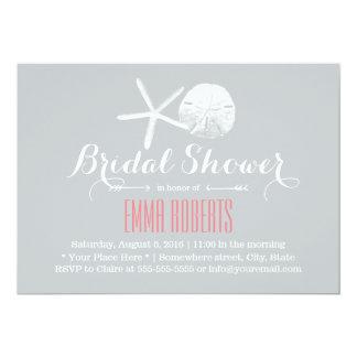 Simple Silver Starfish & Sand Dollar Bridal Shower Card