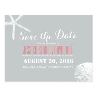 Simple Silver Starfish & Sand Dollar Save the Date Postcard