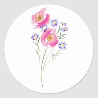Simple sketchily Drawn Daisies Classic Round Sticker