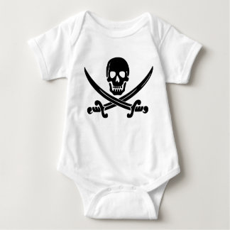 Simple Smiling Pirate Skull with Crossed Swords Baby Bodysuit