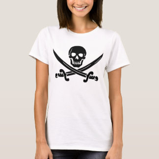 Simple Smiling Pirate Skull with Crossed Swords T-Shirt