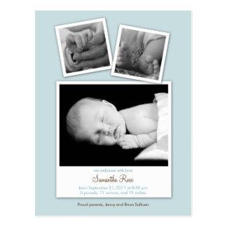 Simple Snapshots Baby Birth Announcement (Blue) Postcard