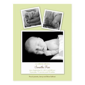 Simple Snapshots Baby Birth Announcement (Green) Postcard