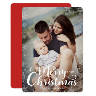 Simple Snowflake Full-Bleed Merry Christmas Photo Card