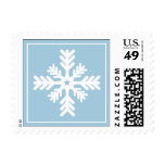 Simple Snowflake Ice Blue | White Holiday Postage