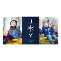 Simple Snowflake Joy  Holiday 2 Photo Card