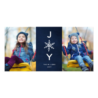 Simple Snowflake Joy  Holiday 2 Photo Card