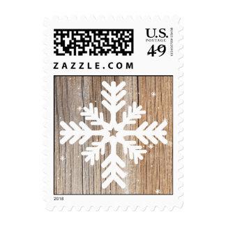 Simple Snowflake Weathered Wood Postage