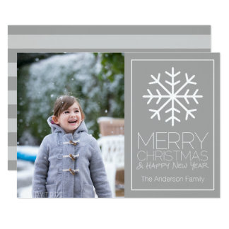 Simple Snowflake with 1 Vertical Photo - Holiday Card