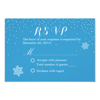 Simple Snowflakes Blue Winter Wedding RSVP Cards