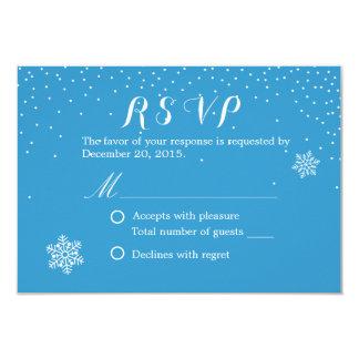 Simple Snowflakes Blue Winter Wedding RSVP Cards