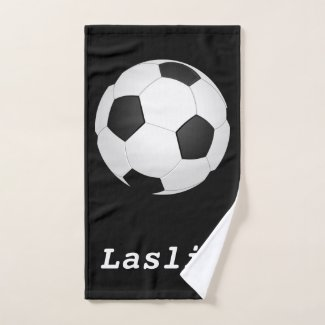 simple soccer ball -  add name bath towel set