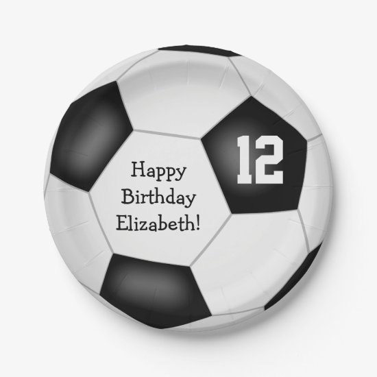simple soccer ball girls boys birthday party paper plate