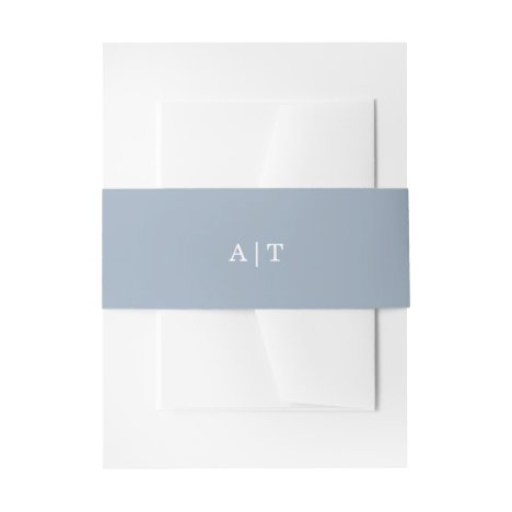 Simple Solid Color Dusty Blue Monogram Wedding Invitation Belly Band