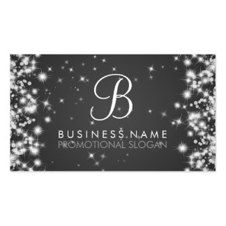 Simple Sparkle Monogram Black Business Cards