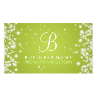 Simple Sparkle Monogram Lime Green Double-Sided Standard Business Cards (Pack Of 100)
